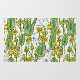 yellow water lilies and dragonflies Rug