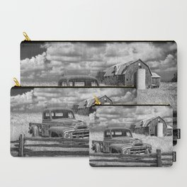 Black and White of Rusted International Harvester Pickup Truck behind wooden fence with Red Barn in Carry-All Pouch