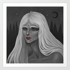 The Moon and Her Art Print