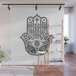 Black and White Mosaic Hamsa Wall Mural