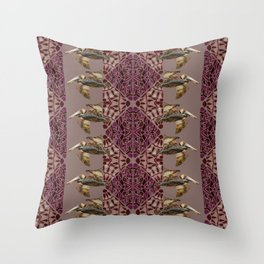 Brown Pelican Flight with Vintage Burgundy Stripe Throw Pillow