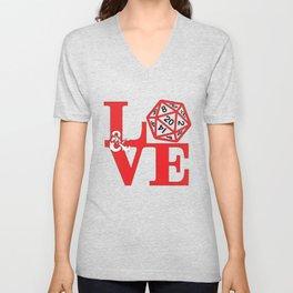 red dnd love Unisex V-Neck