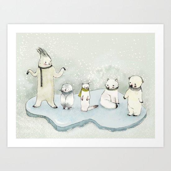 Yeti and friends Art Print