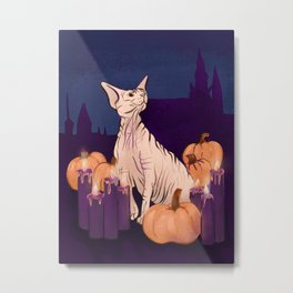 Halloween Sphynx - Candles and Pumpkins in Front of a Castle Metal Print