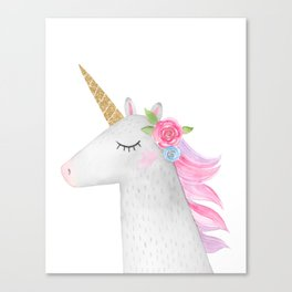 Glitter Unicorn Canvas Print