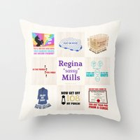"regina mills Throw Pillows featuring Regina ""Sassy"" Mills by CLM Design"