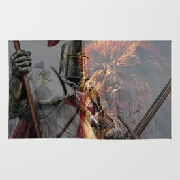 Templar Knight and Lion Rug