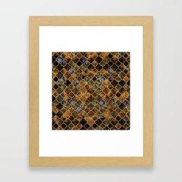 Quatrefoil Moroccan Pattern Brown Labradorite Framed Art Print