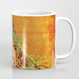 10-Chicago Illinois 1947, old map, orange and red Coffee Mug