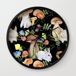 Watercolor seamless pattern of rabbits in the forest on a black background. Wall Clock