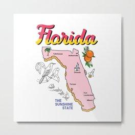 Vintage Map of Florida Metal Print