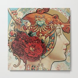 Lady With Flowers - Alphonse Mucha Metal Print