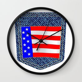 Stars and Stripes Denim Pocket Wall Clock