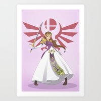 smash bros Art Prints featuring Smash Bros - Zelda by Emm Gee Art