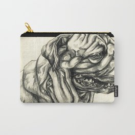 Geometric Black and White Animal portrait Pug Carry-All Pouch