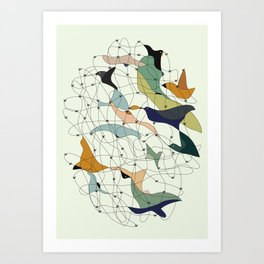Chained birds Art Print