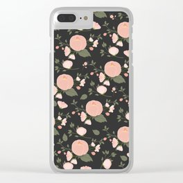 Dark Slate Grey Pink Floral Pattern Clear iPhone Case