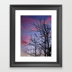 Winter Silhoutte Candy Pink Clouds Framed Art Print