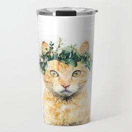 Boho Watercolor Cat, Cat Lady, Plant Lady, Funny cute Cat, home decor, nursery animal wall art Travel Mug
