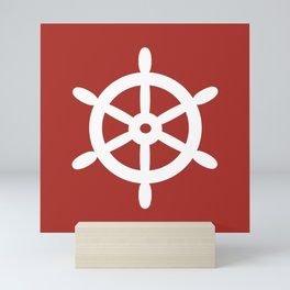 Ship Wheel (White & Maroon) Mini Art Print