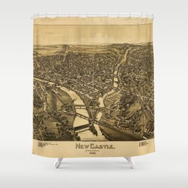 Aerial View of New Castle, Pennsylvania (1896) Shower Curtain