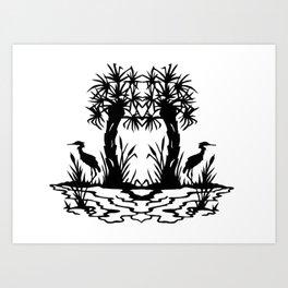 Lowcountry Herons - Papercut Silhouette Scherenschnitte Art Print