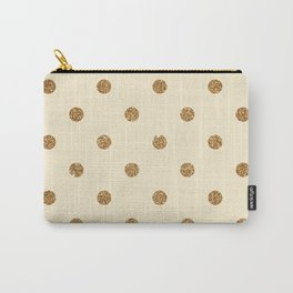 Blanched Almond Gold Glitter Dot Pattern Carry-All Pouch