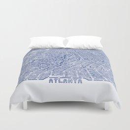 Atlanta Map - Atlanta City Skyline Duvet Cover