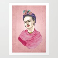 frida kahlo Art Prints featuring Frida Kahlo by Barruf