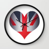 british flag Wall Clocks featuring British Heart by Andy Readman @ AR2 Studio
