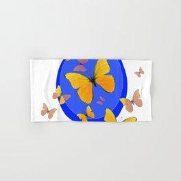 YELLOW BUTTERFLIES SWARM & BLUE RING MODERN ART Hand & Bath Towel