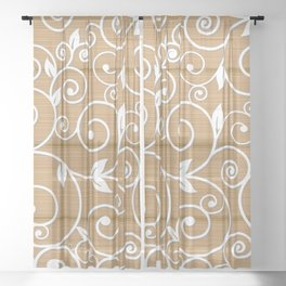 White floral swirls on wood texture Sheer Curtain