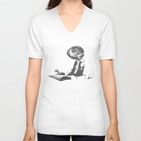 the office V-neck T-shirts featuring Office worker by Reaper