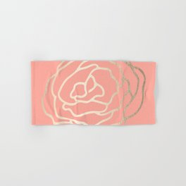 Flower in White Gold Sands on Salmon Pink Hand & Bath Towel