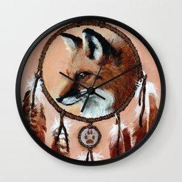 Fox Medicine Wheel Wall Clock