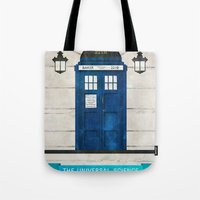 doctor Tote Bags featuring Doctor Who & Sherlock by Sof Andrade