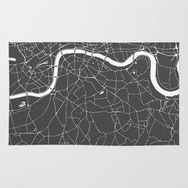 Gray on White London Street Map Rug
