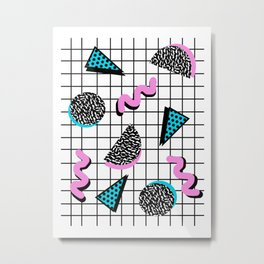 It's Casual - memphis throwback retro neon squiggle grid shapes geometric black and white modern art Metal Print