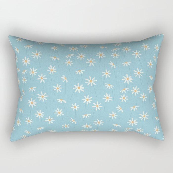 Daisy Blue Rectangular Pillow