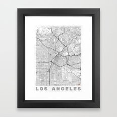 Los Angeles Map Line Framed Art Print