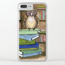 Owl the Librarian Clear iPhone Case