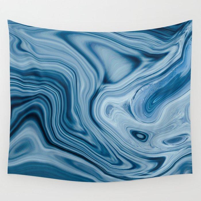 Splash of Blue Swirls, Digital Fluid Art Graphic Design Wall Tapestry