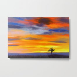 Painting of a colorful landscape with a single tree Metal Print