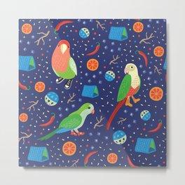 Love Bird, Sun Conure and Monk Parrots on Dark Blue Playground Metal Print