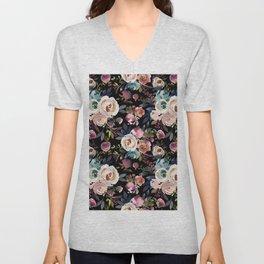 Blush pink teal lilac ivory watercolor modern roses Unisex V-Neck