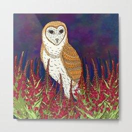 Barn Owl and Fireweed Metal Print