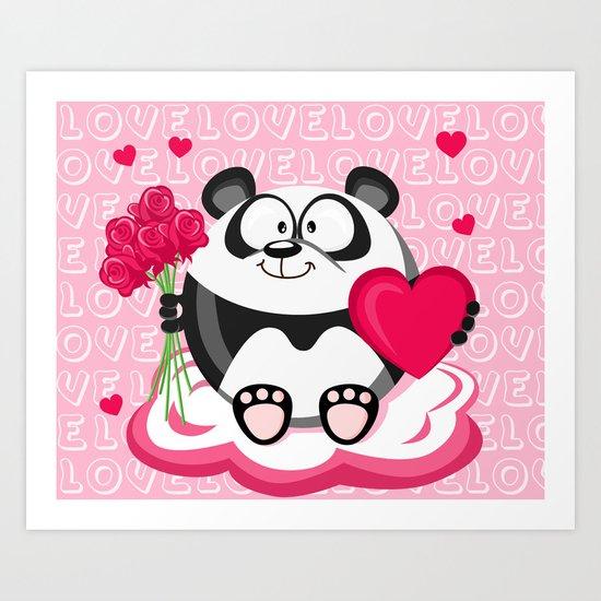 Valentin panda in February month series Art Print