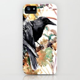 Ravens in the Fall, raven wall art iPhone Case