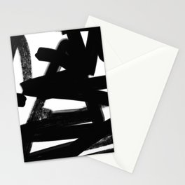 Thinking Out Loud - Black and white abstract painting, raw brush strokes Stationery Cards