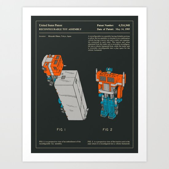 RECONFIGURABLE TOY PATENT (1985) Art Print